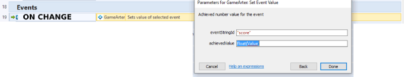 gamearter sdk for Construct - Set event value