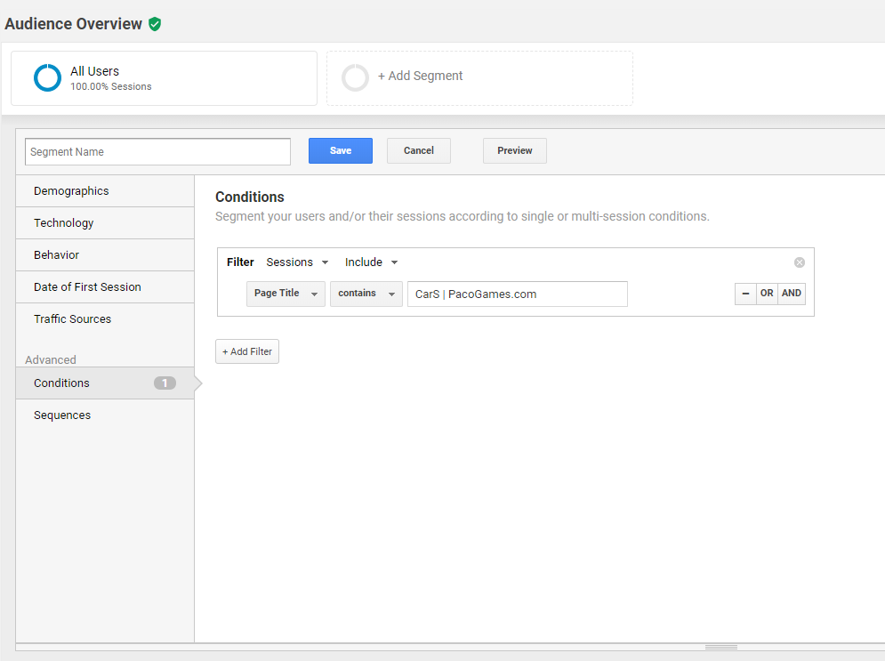 Googleanalytics segments